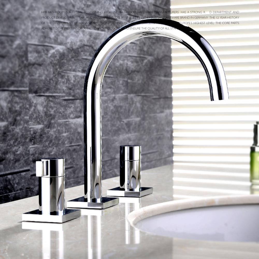 zweigriff waschtischarmatur modern chrom 3 loch. Black Bedroom Furniture Sets. Home Design Ideas