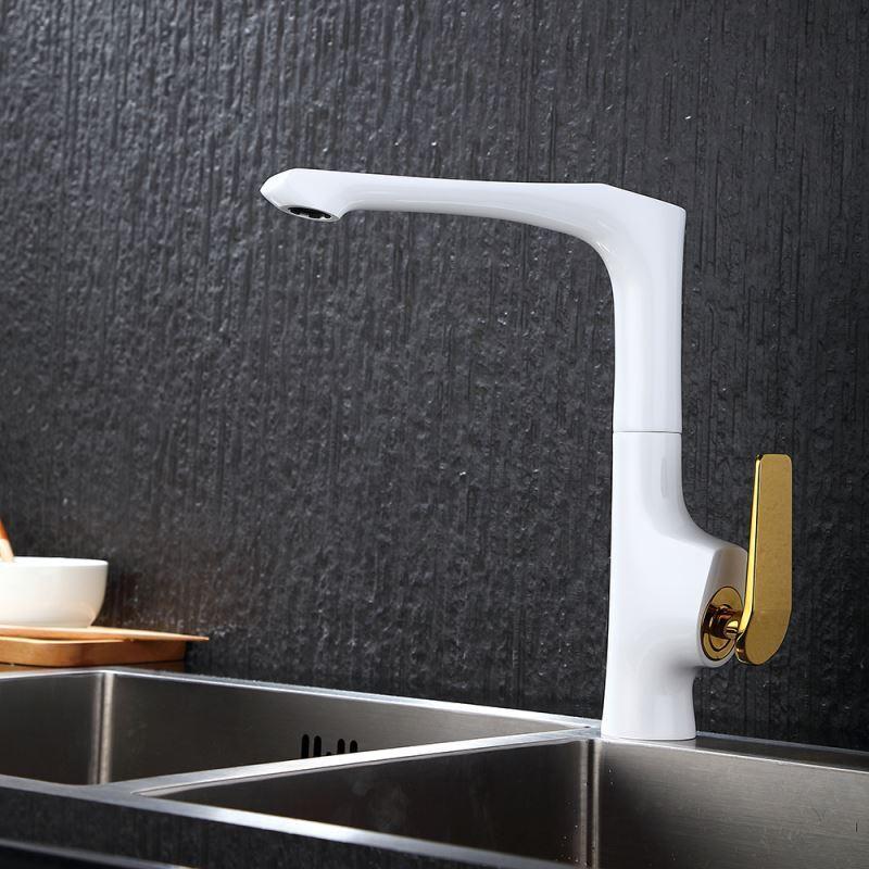 Moderne Küchenarmatur Einhand Kalt- und Warmwasser Weiß
