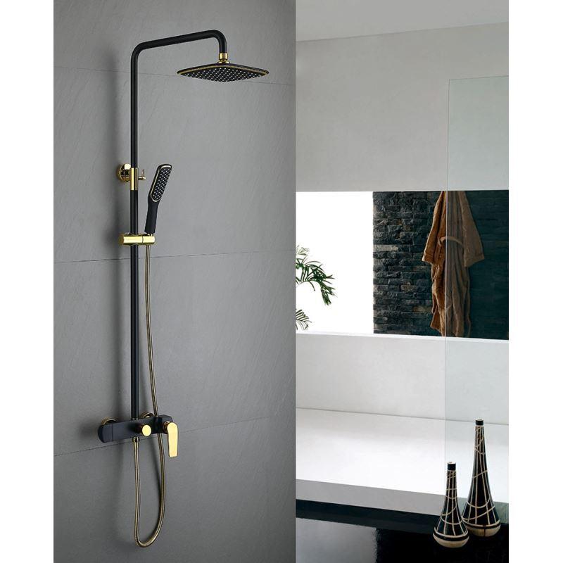 einhand duscharmatur regenfall wandmontage schwarz 3 loch einhand. Black Bedroom Furniture Sets. Home Design Ideas
