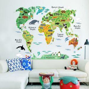 Cartoon Weltkarte der Tiere Wandtattoo aus PVC