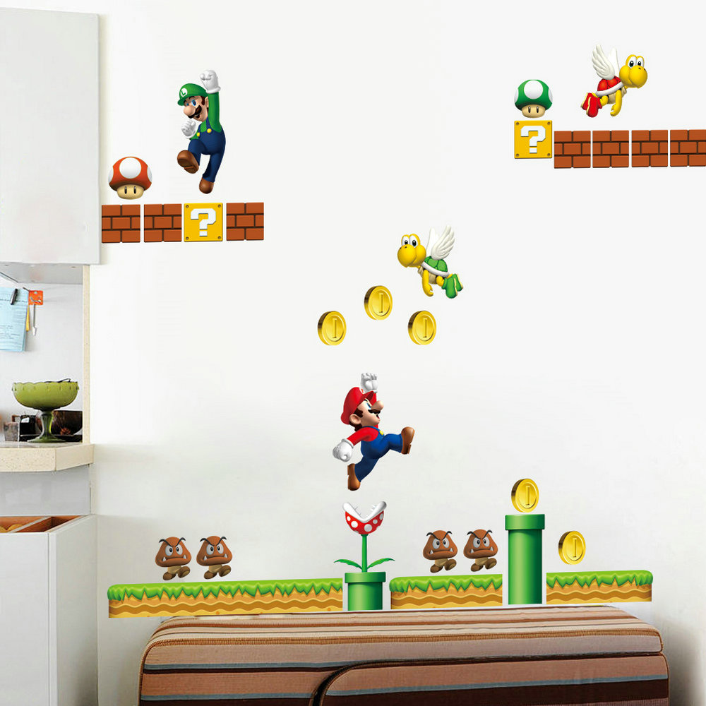 cartoon super mario wandtattoo aus pvc. Black Bedroom Furniture Sets. Home Design Ideas