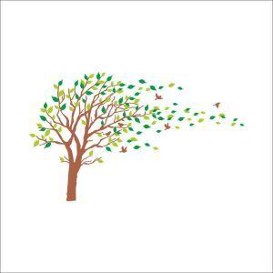 Baum im Wind Wandtattoo aus PVC