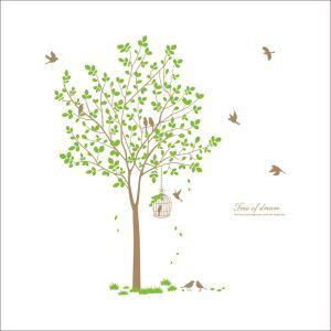 PVC Wandtattoo Baum mit Vogelkäfig
