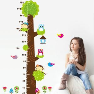 Wandtattoo PVC Cartoon Baum Kinder Messlatte