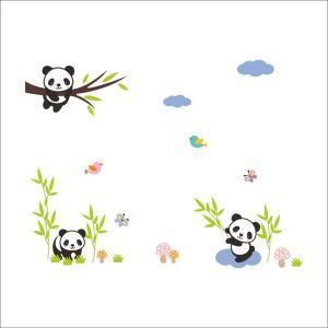 PVC Wandtattoo Cartoon Panda Baby mit Bambus