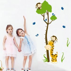 PVC Wandsticker Cartoon Messlatte mit Giraffe und Affe