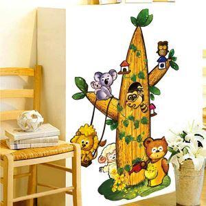 PVC Wandsticker Cartoon Baum Haus der Tieren