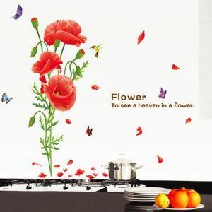 PVC Wandsticker Blume mit Schmetterling