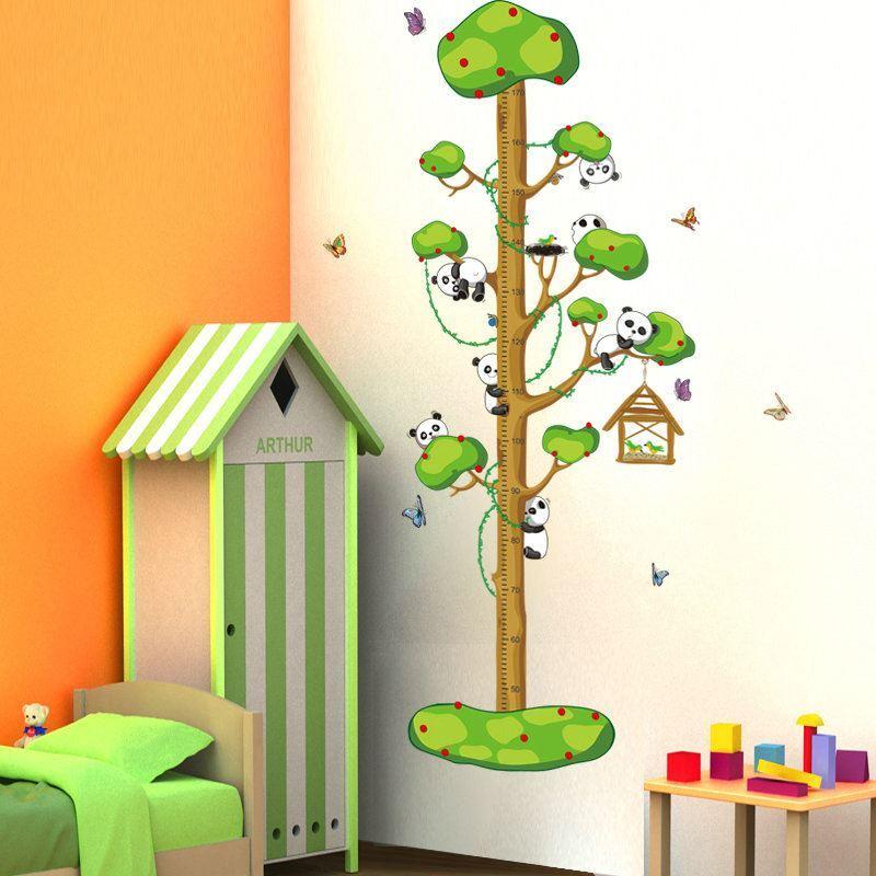 pvc wandtattoo messlatte cartoon panda baby im baum. Black Bedroom Furniture Sets. Home Design Ideas