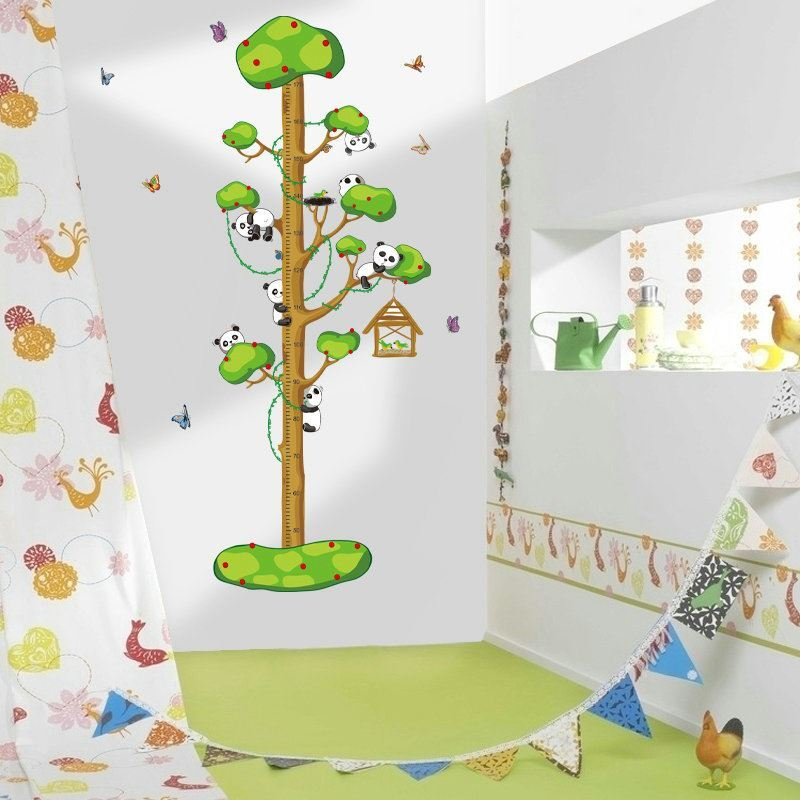 pvc wandtattoo messlatte cartoon panda baby im baum. Black Bedroom Furniture Sets. Home Design Ideas