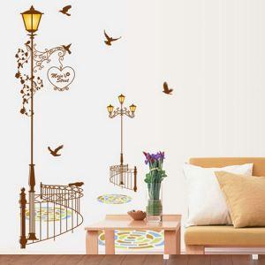 PVC Wandtattoo Straßenlaterne mit Vögel