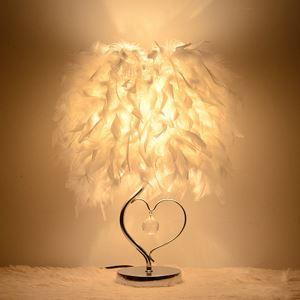 Stilvolle Tischleuchte mit Feder Schirm Herz Design 1-flammig