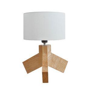 Design Tischleuchte mit Stoff Schirm Holzgestell 1-flammig im Schlafzimmer