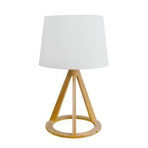 Holz Tischleuchte mit Stoff Schirm Nachttischleuchte 1-flammig