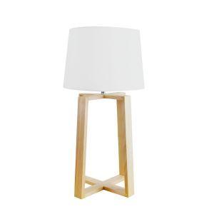 Tischleuchte mit Stoff Schirm Holzgestell Geometrisch Design 1-flammig