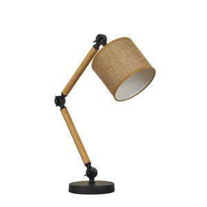 Schreibtischleuchte mit Gestell im Holzoptik 1-flammig im Schlafzimmer