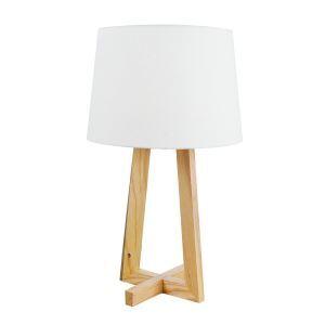 Holz Tischlampe mit Stoff Schirm 1-flammig im Wohnzimmer