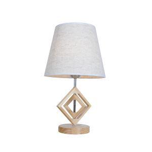 Tischlampe mit Stoff Schirm Holzgestell Geometrisch Design 1-flammig