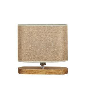 Holz Schreibtischlampe mit Stoff Schirm Tischleuchte 1-flammig