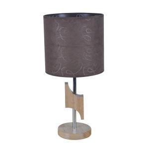 Attraktive Tischleuchte mit Stoff Schirm Holzgestell 1-flammig im Wohnzimmer