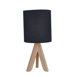 Holz Tischleuchte mit Stoff Schirm Schwarz 1-flammig im Schlafzimmer