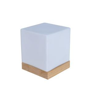 Glas Nachttischleuchte Holzgestell 1-flammig im Schlafzimmer