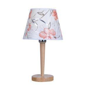 Tischleuchte mit Stoffschirm Holzgestell Floral Design 1-flammig