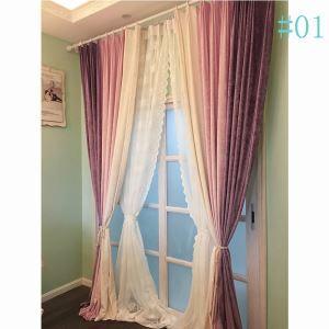 Landhaus Vorhang aus Chenille im Esszimmer