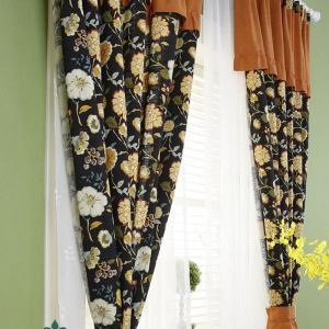 Landhaus Vorhang aus Leinen Blumen Muster