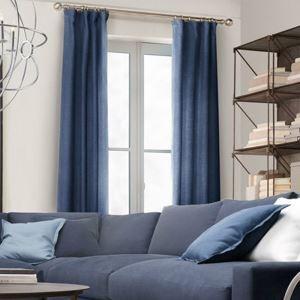 Zeige Details für Vorhang Uni Blau aus Leinen im Wohnzimmer