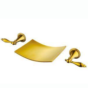 Moderne Wannenarmatur Wasserfall Wandmontage Ti-PVD Gold