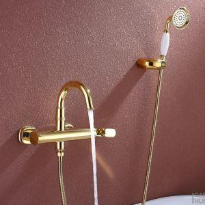 Moderne Wannenarmatur Ti-PVD Gold Wandmontage mit Handbrause