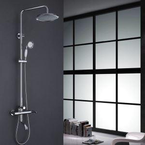 Moderne Duscharmatur mit Regenkopf Rund Wandmontage