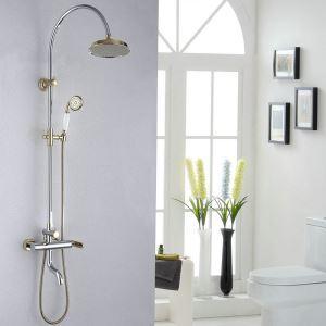 Moderne Duscharmatur Chrom&Gold Regenfall Wandmontage