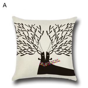 (EU Lager)Kissenbezug Weihnachten Geweih Design