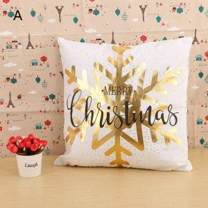 (EU Lager)Dekokissenbezug Weihnachten Schneeflocken Gold Design