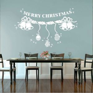 Merry Christmas PVC Wandsticker Weihnachtsglocke Design am Fenster