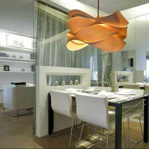 (EU Lager)Pendelleuchte Holz Landhaus Stil Welle Design 1-flammig