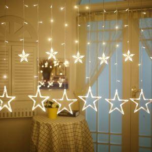 12er Led Lichtervorhang Sternen Design für Weihnachtsdekoration