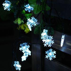 Led Solar Lichterkette für Außen Schneeflocke Design