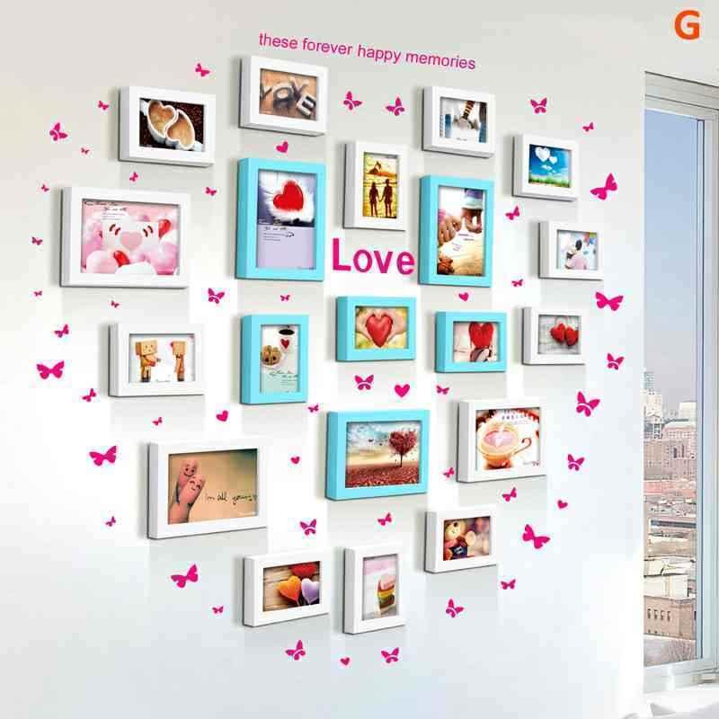 20er Set Bilderrahmen Wandgalerie Herz Design aus Holz