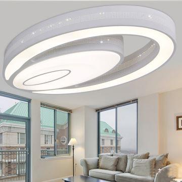 Kaltweiß LED Deckenleuchte Modern Acryl Oval im Wohnzimmer