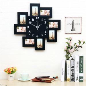 Moderne Wanduhr mit Fotorahmen Minimalisus Design im Wohnzimmer Kinderzimmer