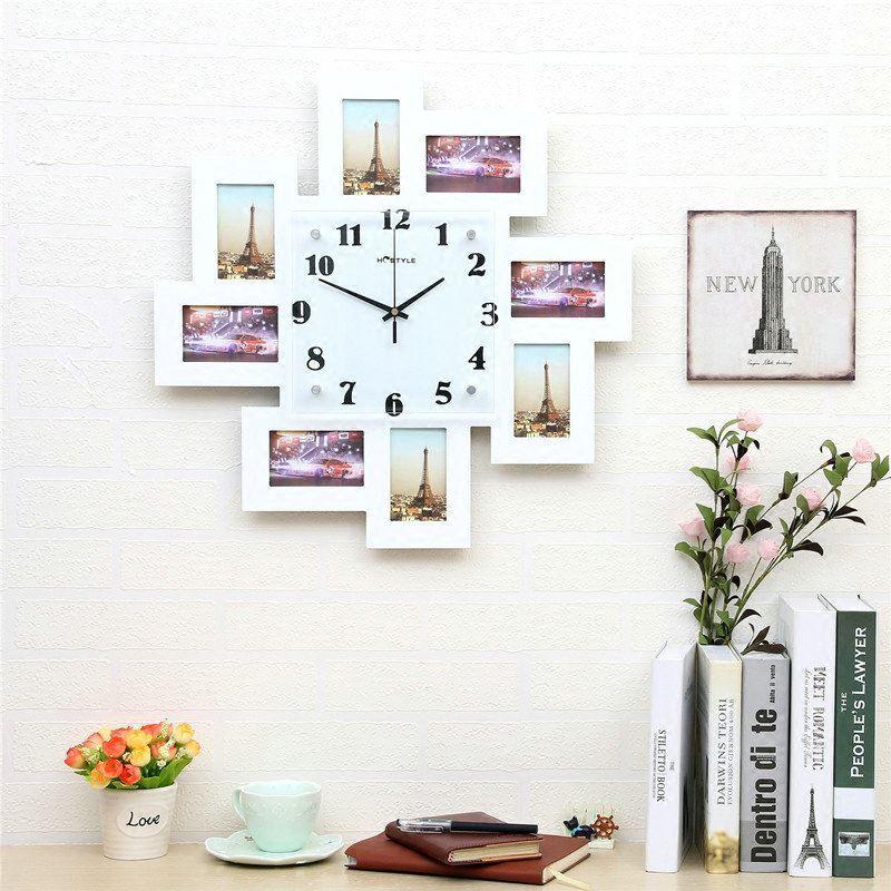 moderne wanduhr mit fotorahmen minimalisus design im wohnzimmer kinderzimmer. Black Bedroom Furniture Sets. Home Design Ideas