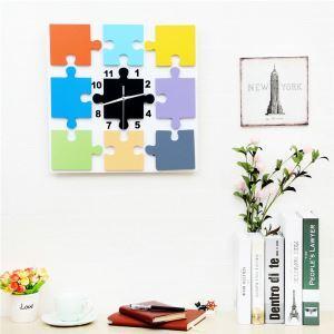 Wanduhr Quadratischen Puzzle Design im Wohnzimmer Kinderzimmer