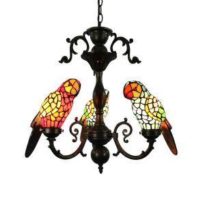 Tiffany Pendelleuchte Papagei Glas Antik Stil 3-Flammig