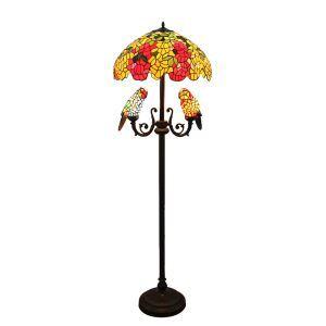 Tiffany Leuchte Papagei Blumen Stehlampe 5-Flammig