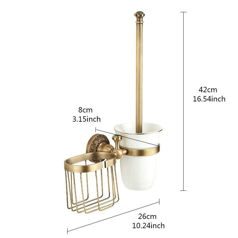 antik messing wc b rstenhalter wandmontage mit warenkorb. Black Bedroom Furniture Sets. Home Design Ideas