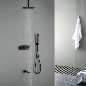 Duscharmatur Regenfall Unterputz Wandmontage Schwarz mit Wasserhahn