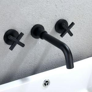Waschtischarmatur Wandmontage mit 2 Griffe 3-Loch-Montage Schwarz